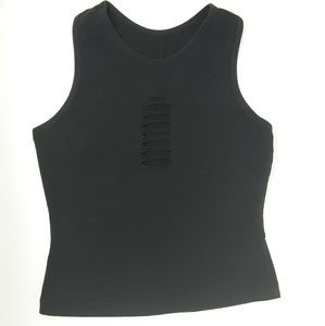 Carushka Yoga Fitted Tank Top With Cut Out Slits